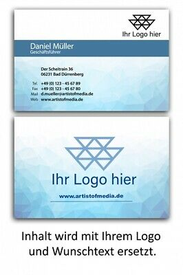 Visitenkarten individuell Fertiges Design Blau + Ihr Inhalt Fertig Business Kart