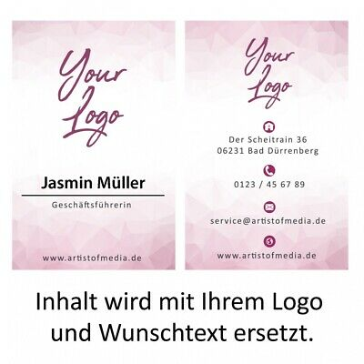 Visitenkarten individuell Fertiges Design Pink + Ihr Inhalt Fertig Business Kart