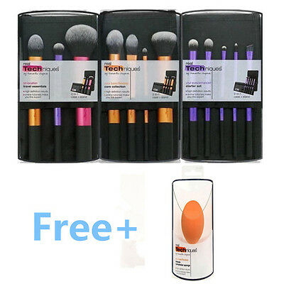 3 Set R T  Real Techniques Make Up Brushes Cosmetic Starter Kit Core Collection