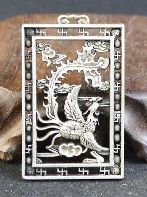 Vintage China Statue/Pendant Old Silver Copper Casting Figure Of Phoenix 19.Jhd