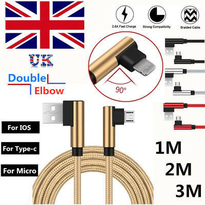 UK Braided Elbow 90° USB Cable Micro Type-c IOS Charger Fast For iPhone Samsung
