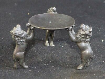 Vintage Collection China Old Bronze Statue Oil Lamp Candlestick With Three Lion