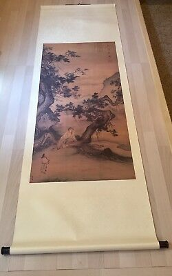 """Magnificent Chinese hanging scroll painting  with Ornate Box Asian Art 6"""" x 2"""""""