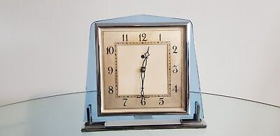 Genuine Art Deco Blue Glass & Chrome Smiths Electric Mantel Clock 1930s Working