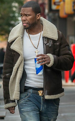 50 Cent Power Brown Leather White Fur Brown Bomber Leather Jacket-BNWT