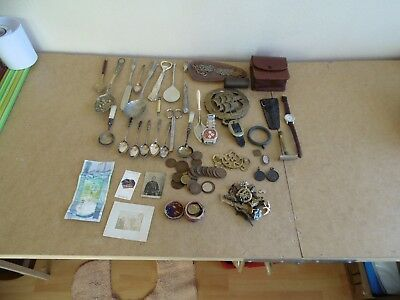 job lot vintage collectables coins banknote costume jewellery EPNS silver