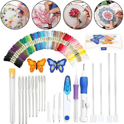DIY Embroidery Pen Knitting Sewing Kit Punch Needle Set+ 50 Threads