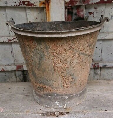 antique vintage riveted galvanised metal bucket, heavy planter, country garden