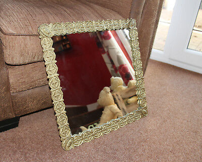 Mirror Antique Vintage Cast Metal Brass Large Ornate Unusual VERY HEAVY