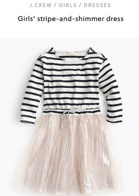 34fe066f5de NEW J. Crew Crewcuts Girls 10 Stripe   Shimmer Dress Ivory Vintage Indigo