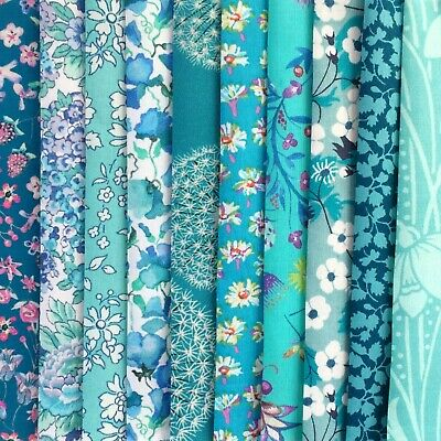 """10 Liberty Print Tana Lawn pieces - each min. 5"""" x 5"""" - *TURQUOISE & TEAL*"""