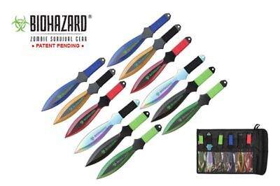 """NEW Biohazard 9"""" 12 Pc Teardrop Shape Throwing Knife Set  Fixed- Assorted Color"""