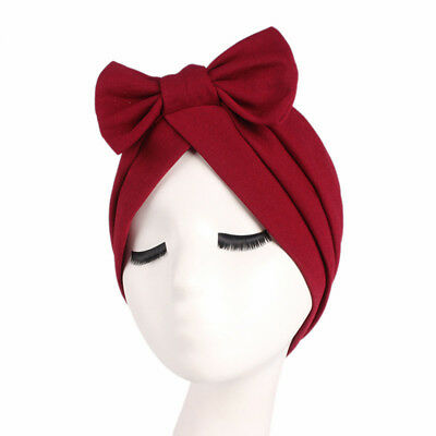 Women Bow Headscarf Bonnet Hair Wrap Silk Elastic Cotton Cap Headband N7 92dd5b6fcd9
