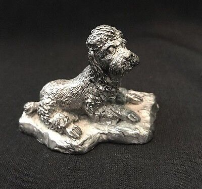 Vintage Handcrafted Pewter Dog Poodle Puppy Made In USA