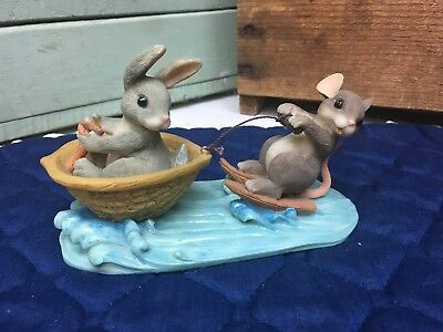 Charming Tails A Day at the Lake 83/803 Fitz Floyd Water Ski Griff Mouse Bunny