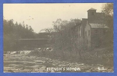 French's Hollow, NY, Covered Bridge, Gristmill, Foundry RPPC Postcard
