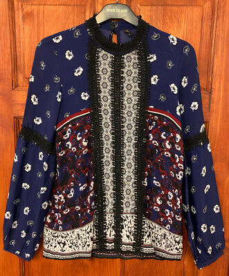 River Island Blue Floral Print Embroidered Blouse Top Sizes 6 to 18