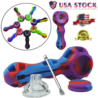 Colorful Silicone Spoon Hand Tobacco Smoking Pipe Filter Cigarette Holder! USA