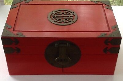 Vintage Asian Decorative Jewelry Box + 2 Drawers Red lacquer w. Brass