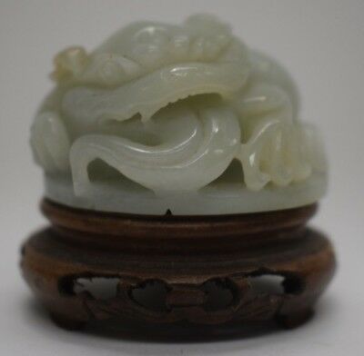 Chinese Jade carving jade statue chinese carved figure wooden stand hardstone