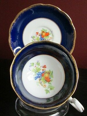 OLD ROYAL ALBERT COBALT BLUE w GOLD TRIM GRAPES & FRUIT TEA CUP & SAUCER c 1930s