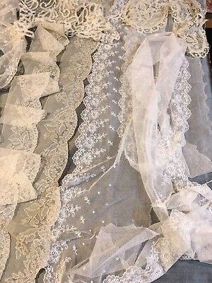 Lace Collars,Flounces,Insertions,Bobbin/Needle lace Cuffs,Tape Lace.Early 20thC.