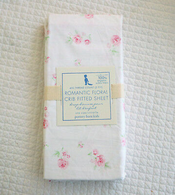NEW Pottery Barn Kids Organic Amy Romantic Floral Crib Sheet Pink Roses