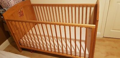 Baby Nursery Cot Bed - Solid Wood With Posture Sprung Mattress Cm3