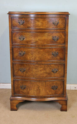 ANTIQUE BURR WALNUT SMALL CHEST of DRAWERS 20th Century