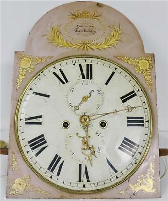 Antique C1830 English Painted Dial Striking Grandfather Longcase Clock Movement