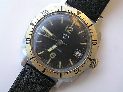Old vintage Swiss watch Elgin automatic Diver