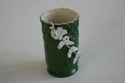 Antique Oriental Chinese Porcelain Carved Green & White Small Holder