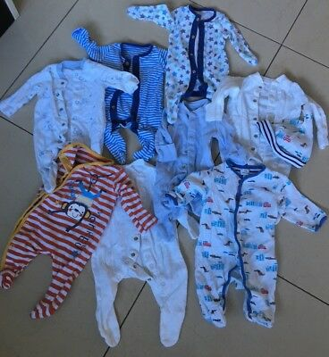 Newborn Baby Boy Babygrows Sleepsuits & hat John Lewis Mothercare Bundle