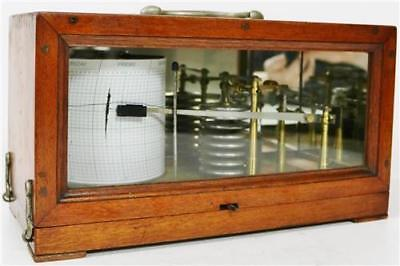Antique English Barograph Solid Mahogany & Glass Case, 8 Chambers C1910 Working