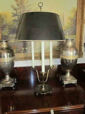 Vintage Bouillotte Lamp Brass French Empire Style 3 Light