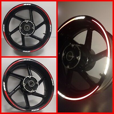 REFLECTIVE Red & White 2 colour Tapered Motorcycle Wheel Rim Tape sticker 025