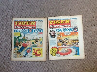 2 X 1968 Tiger And Hurricane Magazines Fleetway Publications Ltd
