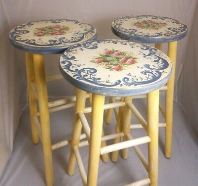 "Hand Painted 1999 29"" Kitchen Stools Set of Three Flower Vine Art"
