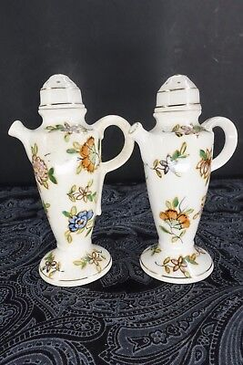 Vintage Moriyama Mori-Machi Chocolate Pot Shaped Salt & Pepper Floral & Gold