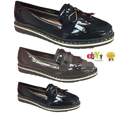 Womens Ladies Studded Loafers Casual Work Fashion Office Pumps School Shoes New