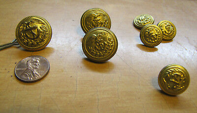 7 Vintage BRASS BUTTONS US Military Eagle Anchor SUPERIOR QUALITY supreme extra