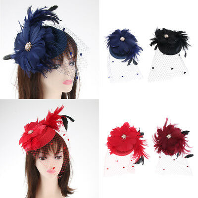 Lady Pearl Flower Pillbox Hat Veil Hair Clip Fascinator Headpieces for Party