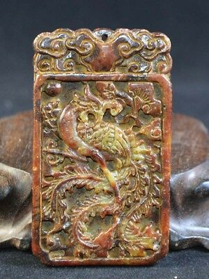 Vintage Old Jade Carving Phoenix Statue Pendant Netsuke Asia Collection Top