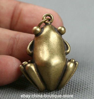 38MM Small Curio Chinese Fengshui Bronze Animal Frog Money Coin Wealth Pendant
