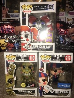 3 Funko Pop! Fnaf FINE NIGHTS AT FREDDY'S Palloncino & Sdcc Jumpscare Bambino
