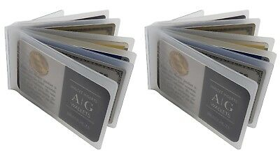 AG Wallets Set of 2 Heavy Duty Vinyl 6 Pages Bifold Wallets Credit Card Inserts