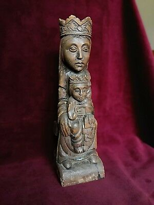 Late 19th Century Carved Pine 'Black Madonna' Religious Figure - 36cm Tall