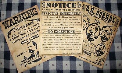 WYATT EARP Tombstone & OK Corral Old West Wanted Posters 8.5 X 11