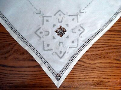 Vintage Linen ECRU ITALIAN EMBROIDERED TABLECLOTH Needle Work 38x36