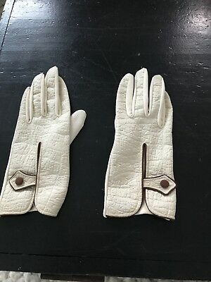 Vintage 1960s White Leather And Nylon Gloves (m)
